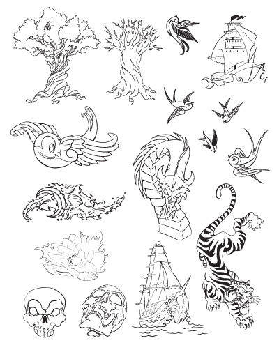 free vector Hand traced tattoo graphics