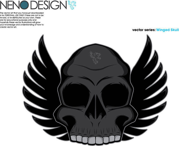free vector Winged Skull