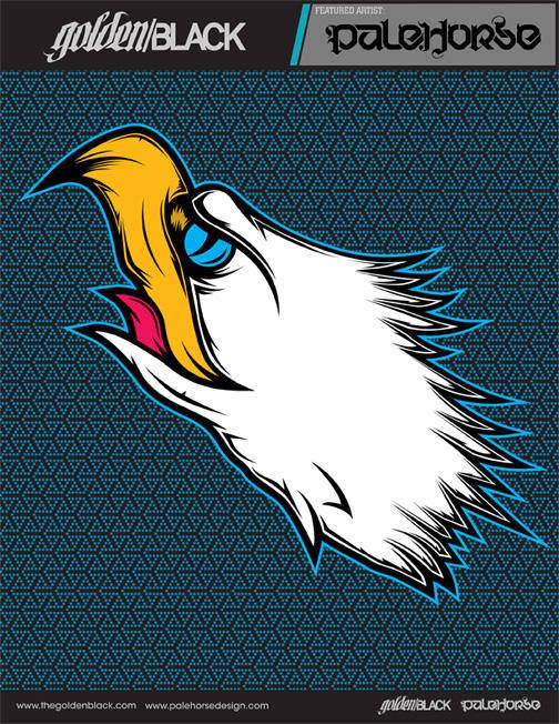 Tattoo-inspired eagle head illustration