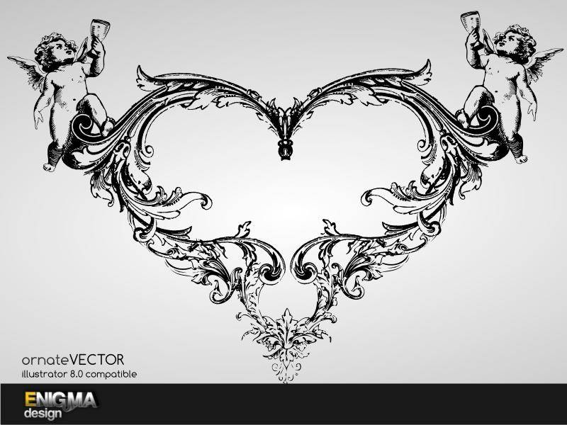 free vector Ornate Heart Vector
