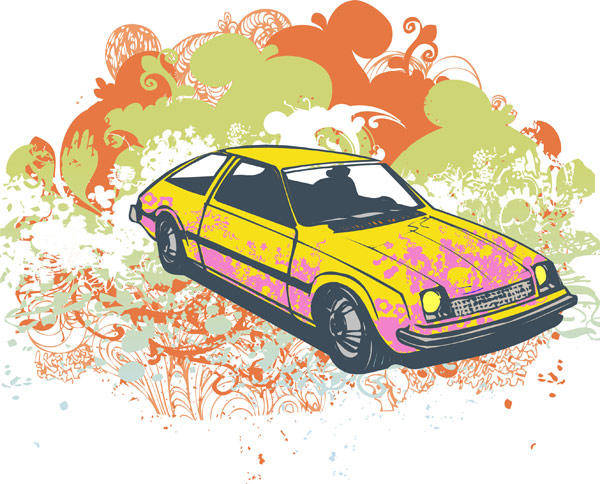 Grunge retro car vector illustration