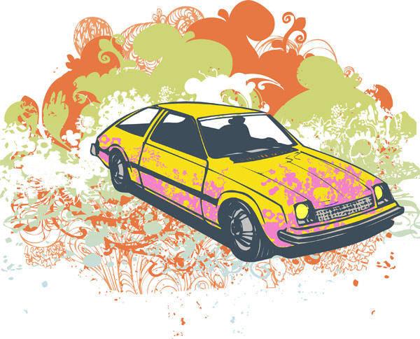 free vector Grunge retro car vector illustration