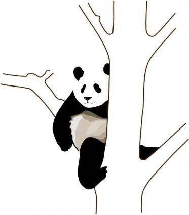 free vector Panda On A Tree clip art