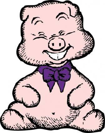 Laughing Pig clip art