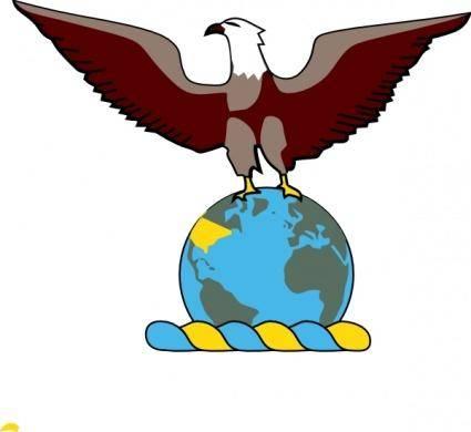 free vector Eagle Over Globe clip art