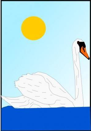 Swimming Swan clip art