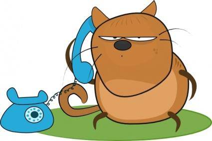 Cat Talking In Phone clip art