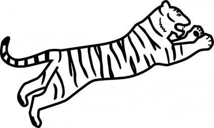 Tiger Jumping Outline clip art