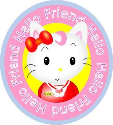 free vector Hello Friend Cat clip art