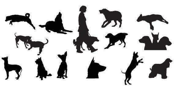 free vector Dog silhouettes free vector