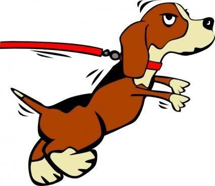 Dog On Leash Cartoon clip art