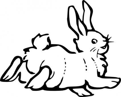 Running Rabbit Outline clip art