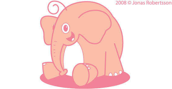 Pink Elephant free vector