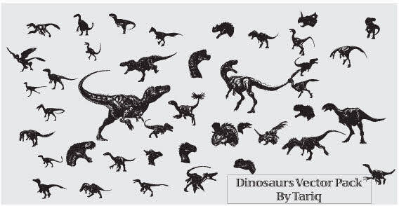 free vector Dinosaurs set of free vectors