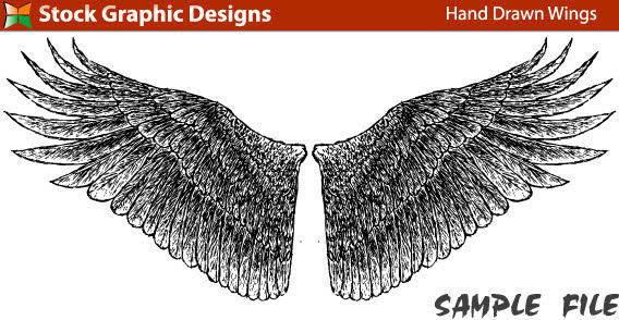 Hand drawn bird wings free vector