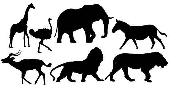 African animals silhouettes free vector