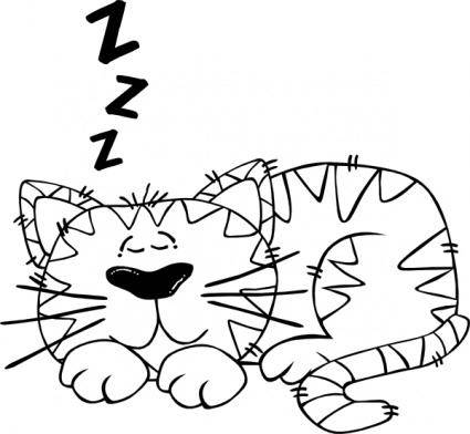 Cartoon Cat Sleeping Outline clip art