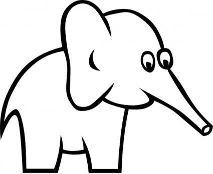 Cartoon Outline Elephant clip art