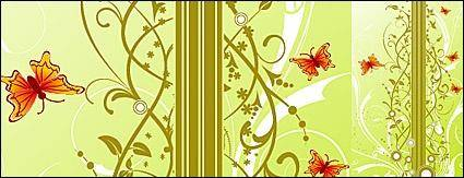 free vector Background patterns and butterfly Vector