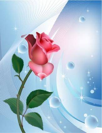 free vector Rose on blue background with water bubbles
