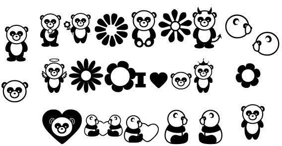 free vector Panda bears set  of free vectors