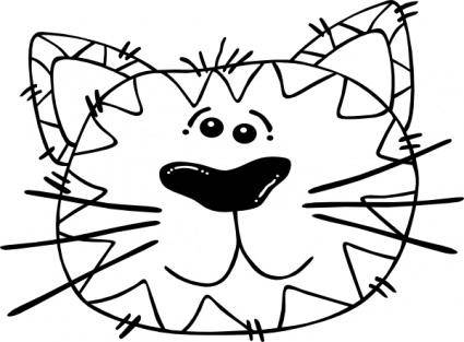 Cartoon Cat Face Outline clip art
