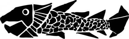 Woodcut Fish clip art