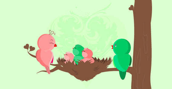 Baby birds are born - Family birds free vector