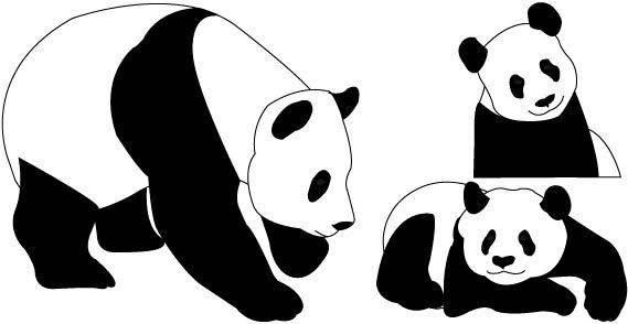 Panda bears free vector