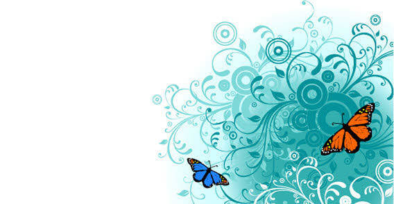 free vector Flowers and Butterfly free vector