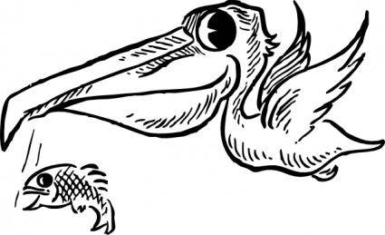 Pelican With Fish clip art