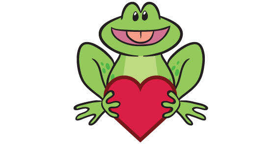 Frog and heart vector