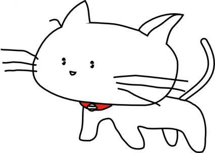 White Cartoon Cat clip art