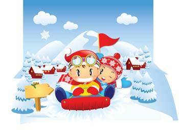 free vector Childs Playing Car Snow