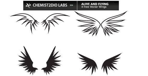Bird wings set