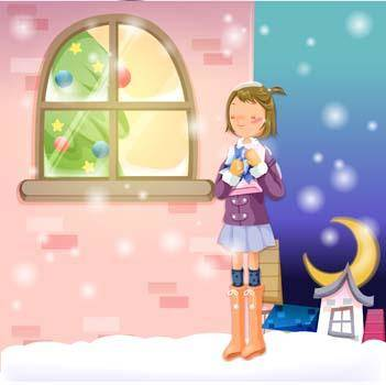 free vector Girl waiting for her gift in snow