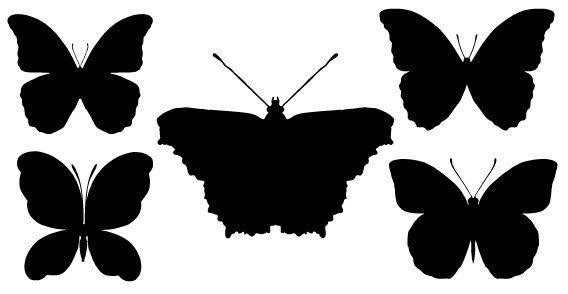 Black butterfly silhouettes free vectors