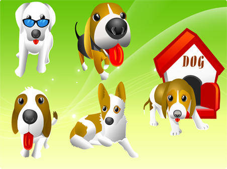 free vector Six different Dogs free vectors