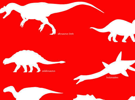 Dinosaur on red background free vector