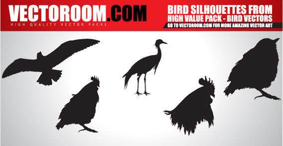 free vector Birds silhouettes vector