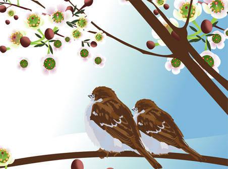 free vector Two spring birds free vector