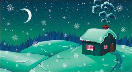 free vector Cartoon Snow Moonlight
