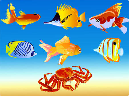 free vector Seven Vector Fish Graphics