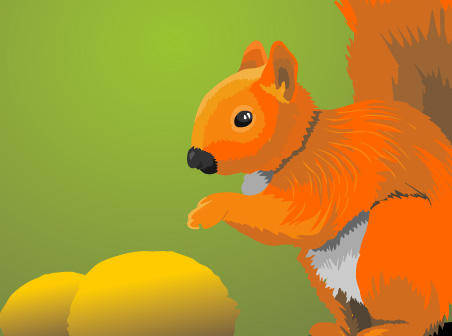 free vector Squirrel with nuts