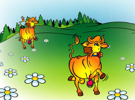 Cow free vector on green grass