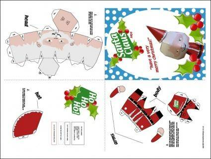 free vector Santa Claus Paper Craft