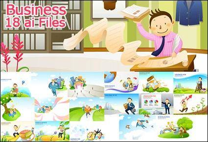 Business cartoon 18 element vector material