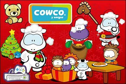 free vector Cute cartoon characters Cowco Christmas vector subject material