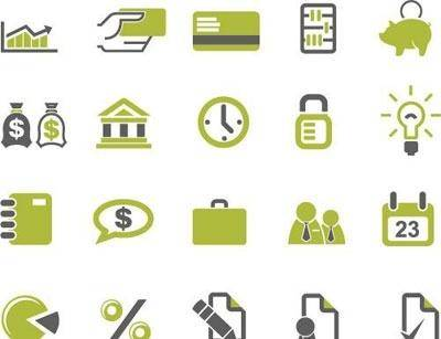 free vector Banks and business icons set