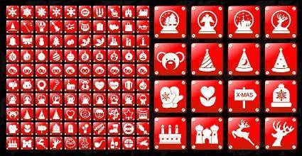 free vector Simple red Christmas icon vector material